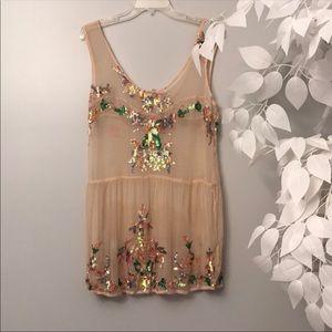 Free people slip dress mini tunic sequin new med